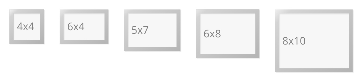 The 5 Most Common Photo Sizes 4x4, 6x4, 7x5, 8x6, 10x8 Inch. The Frame Size  Denotes The Size Of The Photo It Frames