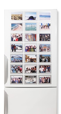 Silver Fridgi Magnetic Photo Frames on Fridge door